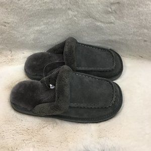 Nuknuuk Men's Leather Slippers   Grey   Size 8